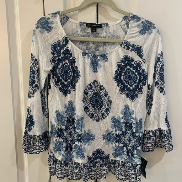 INC International Concepts Tops - White and blue blouse